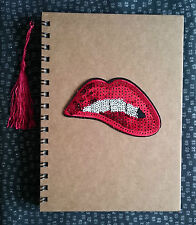 Funky Cute Rockabilly Retro RED LIPS Sequin A5 Notebook Notepad Fun Kitsch Gift