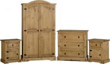 Corona 4 Piece Bedroom Set in Distressed Waxed Pine Wardrobe, Chest, Bedside