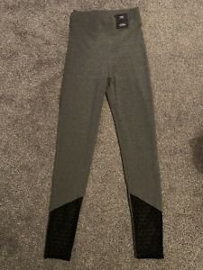NEW M & S HIGH RISE LEGGINGS WITH STRETCH, GREY WITH BLACK LACE 6 Regular