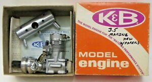 K&B #8384  3.5 MARINE INBOARD ENGINE & Muffler gas R/C motor MINT in Box