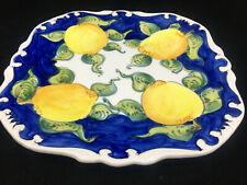Plate Platter Square Blue Yellow Lemons Greenery Hand Made Italian Pottery