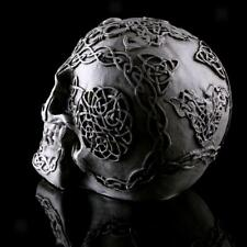 Resin Skull Statue Figurine Human Skeleton Head Halloween Home Bar Decor #4