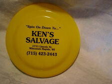 KEN'S SALVAGE YELLOW VINTAGE FRISBEE,Spin On Down,wisconsin rapids,wi,yard,cars