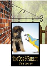 Custom designed Hanging Pub sign 30cmx20cm bar dog & parrot mancave free P&P