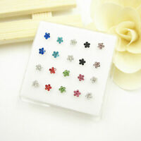 20 Pcs Mixed Crystal Flower Straight Bar Rod Pin 925 Solid Silver Nose Stud