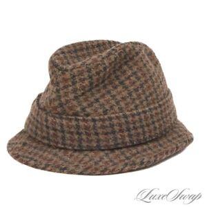#1 MENSWEAR Vintage Brooks Brothers Harris Tweed Muted Multi Check Hat 7 NR FALL