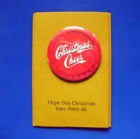 Hallmark BUTTON PIN Christmas Vintage Cheer LOVE DOTS 1974 Mailer Card RARE NEW