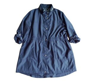 Bon Marche Womens Raincoat Size 22 Navy Blue Roll Up Sleeves