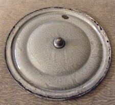 "Vintage Gray Graniteware Stock Pot Lid Knob Handle Enamelware 11 1/2"""
