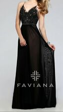 Pre-owned FAVIANA  PROM FORMAL GOWN Black Dress  #7717 Size 8