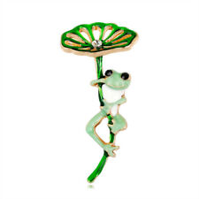 Green Gift Lotus Leaf Frog Badge Scarf Pin Fashion Jewelry Brooch