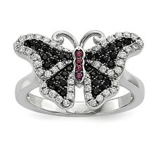 Sterling Silver & Cubic Zirconia Brilliant Embers Butterfly Ring Size 8 #1439