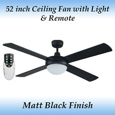 Fias Genesis 52 inch Matt Black Ceiling fan with Light and Remote