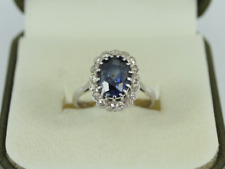 Diamond & Sapphire Halo Ring 18ct White Gold Ladies Size L 1/2 750 3.6g Fe10