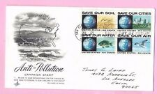 USA 1970 FDC Block of 4 - ANTI-POLLUTION Campaign Cds SAN CLEMENTS, CA & Slogan