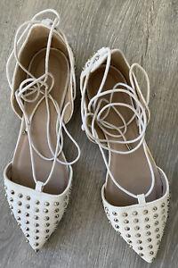 White  Flat Studded Shoes Size 6