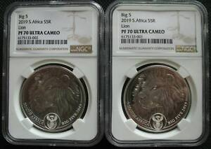 South Africa R5 2019 Silver Proof 1Oz Two Coin Big5 Lion NGC PF70