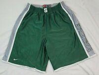 Nike Team Michigan State Spartans Mens Basketball Shorts Green Large Reversible