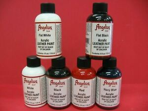 Angelus Acrylic Leather Paint /Dye - Leather & Vinyl -  Sneaker Paint - 4 Fl Oz
