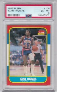 RG: 1986 Fleer Basketball Card #109 Isiah Thomas Rookie Detroit Pistons - PSA 6