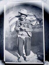 Antique Glass Plate Negative Photograph Ecuador ? Man With Sack On Back