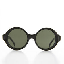 Black Round Vintage Sunglass with Beveled edged Mod Frame and Green Lens- Trudy