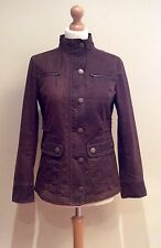 BODEN WAX JACKET COAT SIZE 8 BROWN COTTON ZIP POPPER