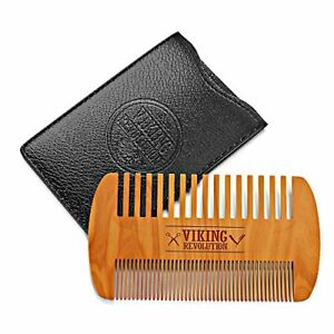 Wooden Beard Comb & Case, Dual Action Fine & Coarse Teeth, Perfect for use with