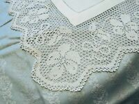 "Amazing Bow & Flower Design Irish Crochet Lace Damask Linen Tablecloth 47"" x 47"""