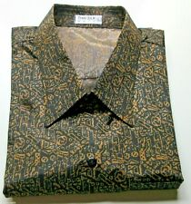 Mens Casual Thai Silk Shirts / Paisley Pattern Small-XXXL / SHORT & LONG Sleeve