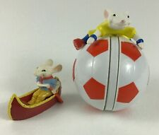 New listing Stuart Little Wendy's Rolling Soccer Ball Toy Mouse Canoe Figure 2pc Lot Vintage