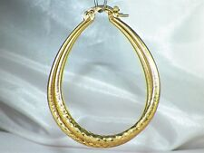 Gold Over Sterling Silver .925 Large Oval Textured Hoop Earrings
