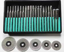 "25pc Diamond Coated Polishing Grinding Burr Cut off Wheel Disc Set 1/8"" Shank"
