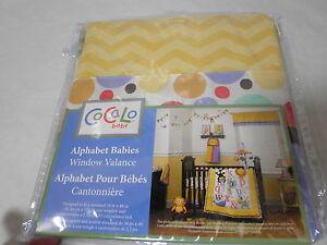 New Cocalo ALPHABET BABIES Collection Window Valance ~ Gold, Blue Zig Zag Dots