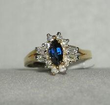 SOLID     14K  Gold   SAPPHIRE    Diamond   Fashion  Ring