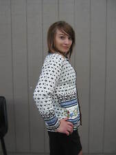 Jenny Embroider Lined Sweater Size M White/Brown/Blue #CL25