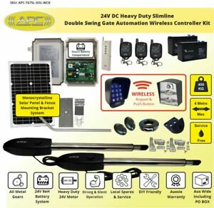 Solar Powered Gate Opener Wireless Controller Kit, Double Swing Gate Automation