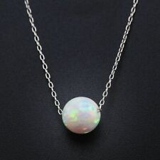 Delicate Opal & 925 Sterling Silver Ball Necklace Pendant Colourful Gift