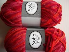 Herrschners Soho Pulse 'knitted' ribbon yarn, Sunset, lot of 2 (142 yds ea)