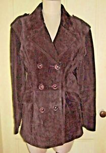 Selection Leathers Modo Peau Calf Suede Double Breasted Peacoat Jacket Womens M