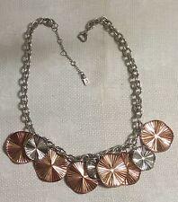 "JLO Jennifer Lopez ST Metal Chain Coppertone Ribbed Disk Dangles 20"" Necklace"