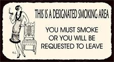 (VMA-G-1022) Designated Smoking Area Vintage Metal  Funny Retro Tin Sign