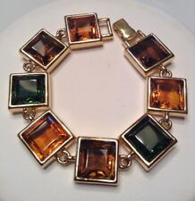 Rare Vintage Signed MONET Jewelry Statement Bracelet Glass Crystals Fall Colours