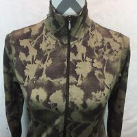 Women's LUCY Green Floral Zip Front Wool Jacket Size Medium G19