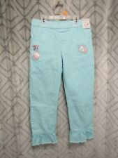 New 365 Kids Pants Size 7 Blue Girls 1/2 Elastic Waist Ruffle Cuffs Unicorn