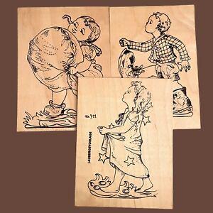 1970er Laubsäge-Arbeit Vorlage 3x: Kissen-Kind Sterntaler Däumling 18,5x13cm ALT