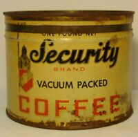 Vintage 1950s SECURITY SHIELD KNIGHT GRAPHIC COFFEE TIN 1 POUND Aurora Illinois