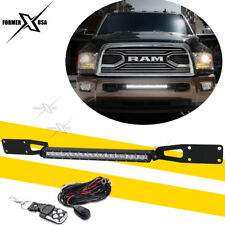 "20"" LED Light Bar +Bumper Grille Brackets Wire Kit For 03-18 Dodge RAM 2500 3500"