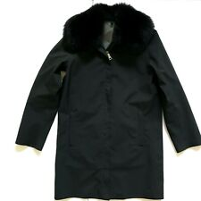 Prada Coat Jacket Womens 42 IT Small 6 Gore-Tex Real Fox Fur Collar Black Zipper