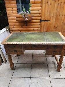 Antique Victorian Carved Oak Writing Desk/ green leather top - for restoration.
